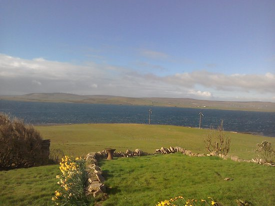 Rousay, UK: The view from the patio doors leading to private decked patio in our room