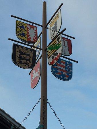 The Village Lanterne: Flags in Biergarten
