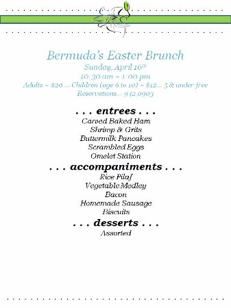 Greenwood, Carolina del Sud: Easter Sunday brunch...10:30-1:00 reservations.