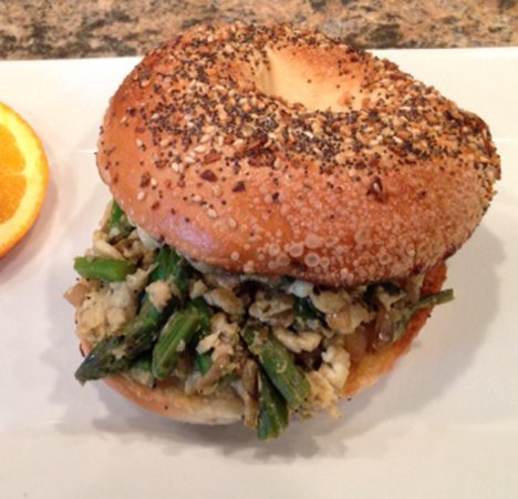 Linwood, NJ: The Josephine, sauted asparagus & onion, scrambled egg on a bagel of  your choice