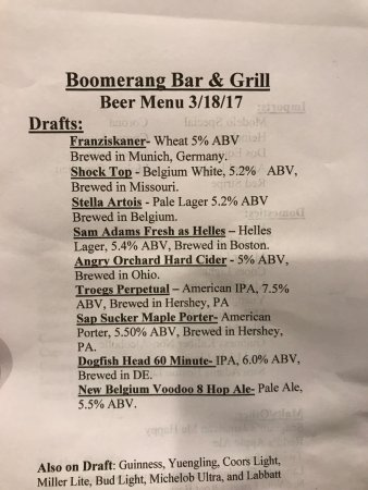 New Cumberland, PA: Beer list for a bar that really isn't trying