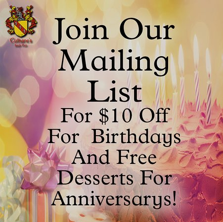 Atlantic Beach, FL: Join Culhane's Irish Pub's Mailing List for Birthday and Anniversary Gifts