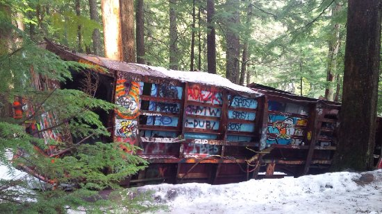 The Whistler Train Wreck Trail : derailed, painted car