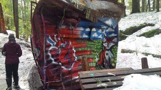 The Whistler Train Wreck Trail : painted car with bike rail on top and bottom