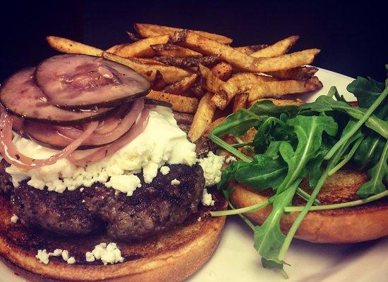 Garden City Steak & Grill: The Greek Burger is a customer favorite!