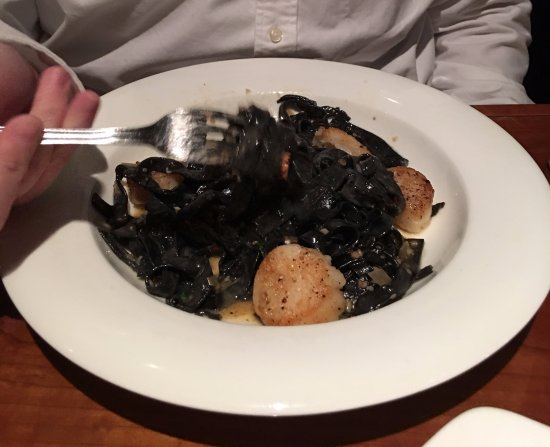 Church & Main: Squid ink pasta with scallops