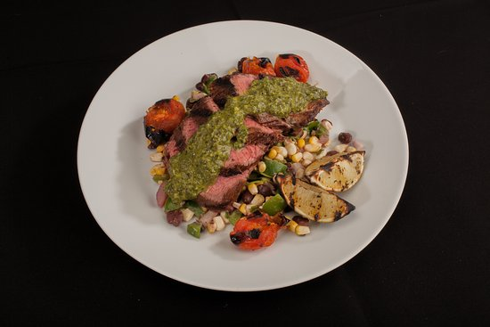 Groton, MA: Chimichurri steak over grilled corn and black beans