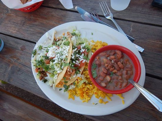 Euless, TX: Taco Plate with Mix-Mex rice and Borracho beans