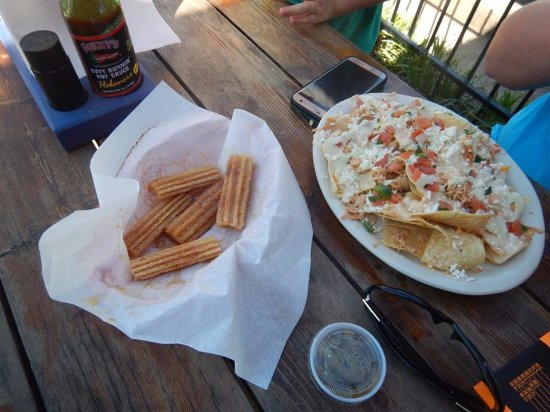 Euless, TX: Cinnamon Sugar Churro, and Shredded Chicken Nachos