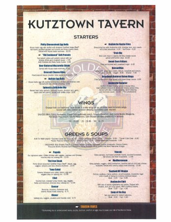 Kutztown, Pensilvania: First page of our menu, Appetizers and salads