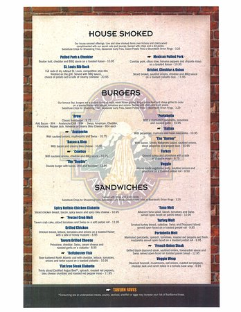 Kutztown, Pensilvania: Second page of our menu, House smoked, Burgers, and sandwiches