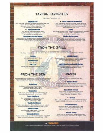 Kutztown, Pensilvania: Third page of our menu, Tavern favorites, Grill, Seafood, and Pastas