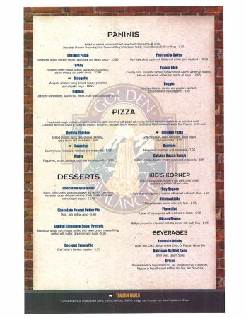 Kutztown, Pennsylvanie : Fourth page of our menu, Paninis, pizzas, Kid's options, and desserts