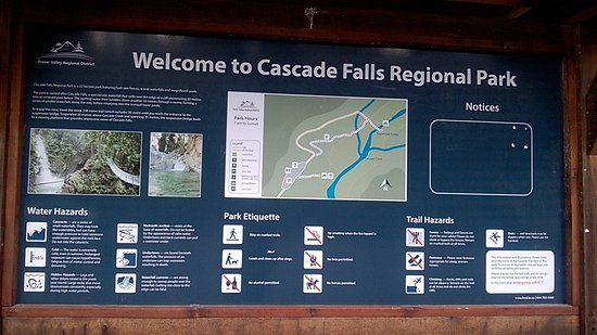 Mission, Canada: Cascade Falls info board