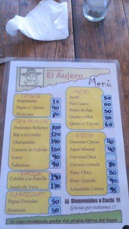 El Aujero: The menu