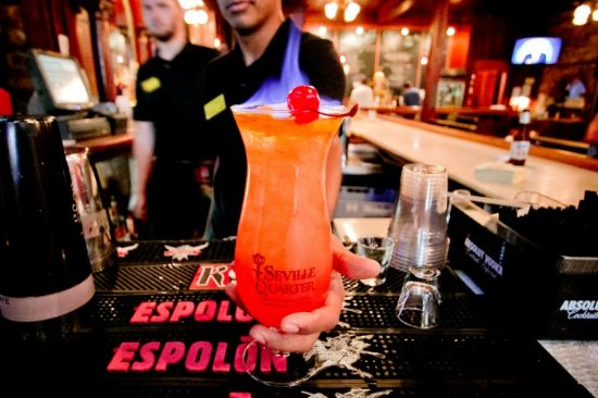 Seville Quarter: The featured drink in Rosie's is our famous Flaming Hurricane with souvenir glass.