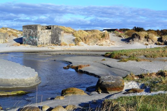 Sola Strand: The beach has remains of the Atlantic Wall WW2 bunker system.