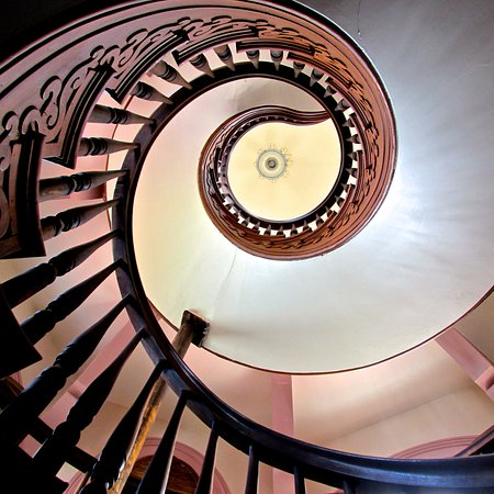 Hay House: Up The Spiral Staircase To Rooftop Cupola.