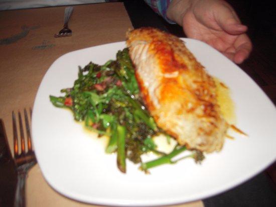 Saugatuck, MI: potato crusted salmon