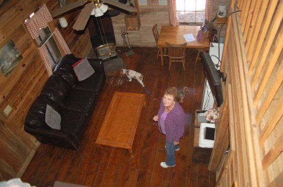 Cabin Fever : Looking down from the loft in Hightop.
