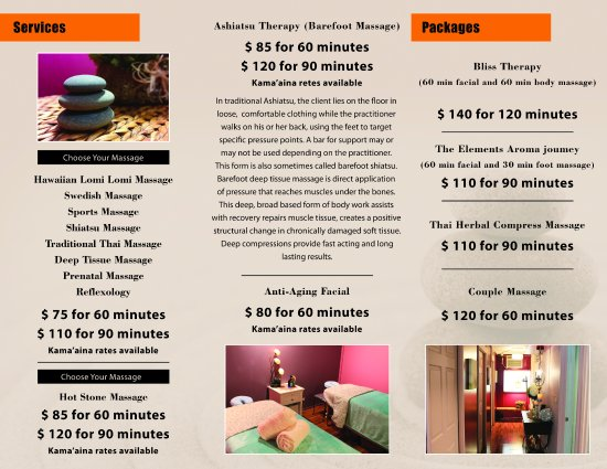 Sunshine Massage: Brochure With Prices And Services. Visit  Www.sunshinemassage.com For