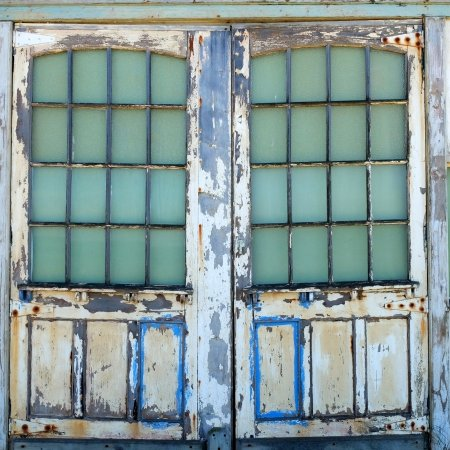 C&bellu0027s Cove Art deco weathered glass pane doors on a beach shack C&bells & Art deco: weathered glass pane doors on a beach shack Campbells ...