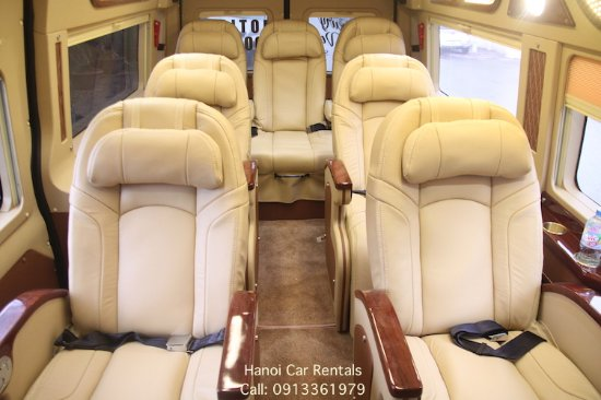 Inside Of Ford Transit 9 Seat Luxury Van For Rent In Hanoi
