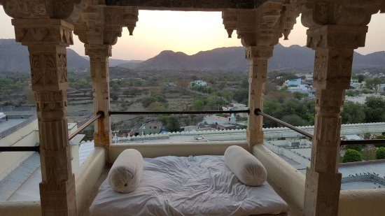 RAAS Devigarh: Private dining. Reservations needed with set dining fee. Sunset from our room. Also can be seen