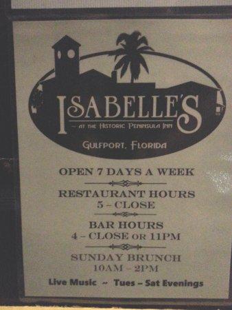 กัลฟ์พอร์ต, ฟลอริด้า: Isabelle's hours