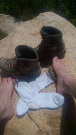 Lakeside, CA: El Cajon Mountain Summit. Lowa Hiking Boots.