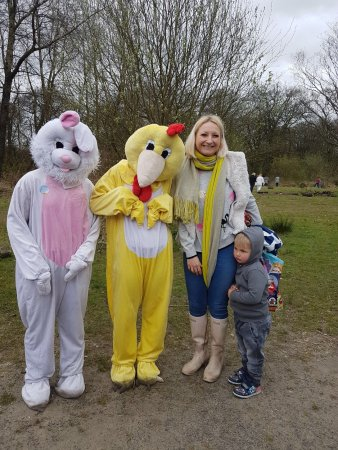 Bolton, UK: Meeting the Easter Bunny and Chick