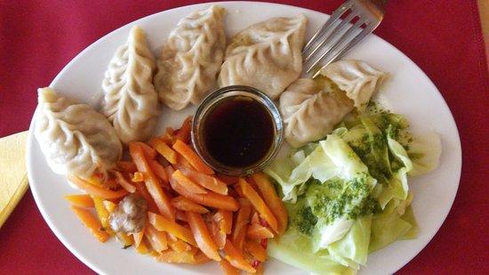 Os Tibetanos: PAsteles de vegetales con salasa de soja, y guarnición de zanahorias hervidas y col hervida (veg