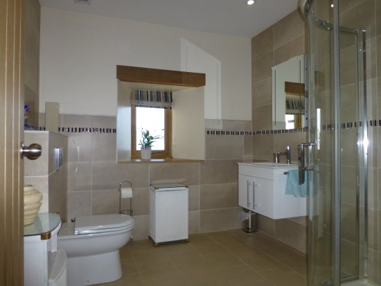 Whithorn, UK: Private bathroom for groundfloor twin room with disabled access.