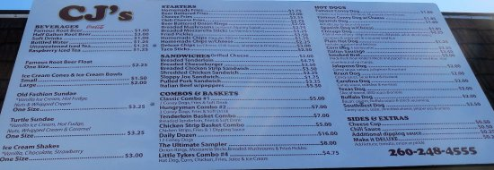 Columbia City, IN: Menu
