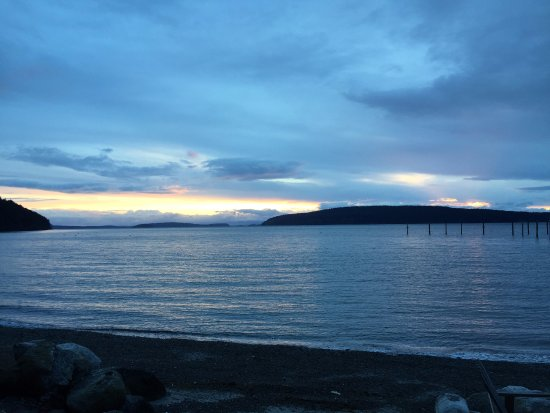 Eastsound, WA: Sunset looking west from the beach towards Vancouver Island, Canada