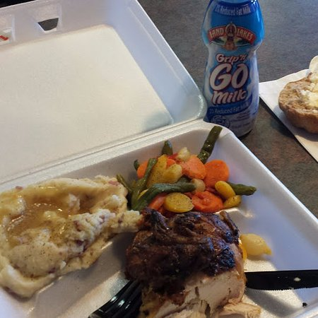 Newport, MN: Chicken with 2 sides, milk was seperate purchase and roll was included.