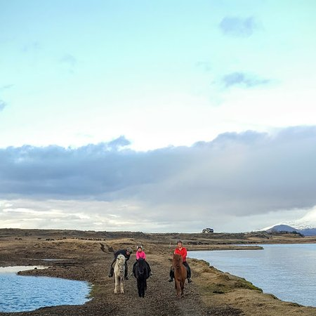Hella, Iceland: Riding along the river