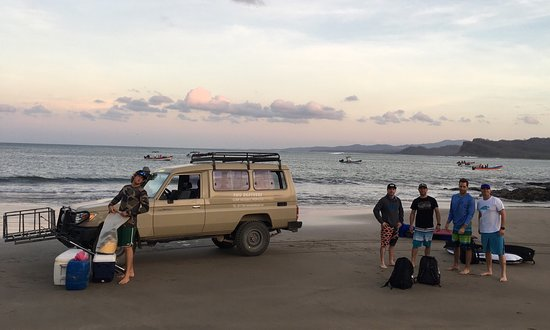 Las Salinas, Nikaragua: Taking the Landrover to Two Brothers boat for a day of surfing and fishing