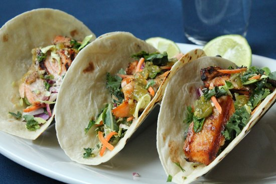 New Buffalo, MI: Mike's Tacos; choose chicken, steak or salmon. Get the salmon!