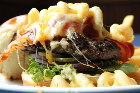New Buffalo, MI: Casey's Original burger with Bacon plus Mac & Cheese. WOW!