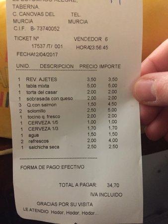 Taberna El Estomago Alegre: Cuenta final 4 personas que comemos bien bien