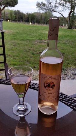 Hotel La Vigne de Ramatuelle : terrasse chambre sur vignes du Domaine avec rosé propriété (à consommer avec modération).