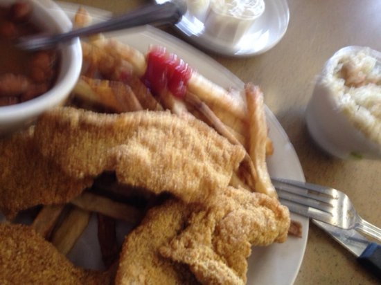 Vernon's Kuntry Katfish: Fried catfish, beans, cole slaw and fries