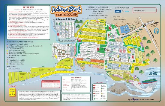 Monticello, Индиана: Indiana Beach Campground & RV Resort Map