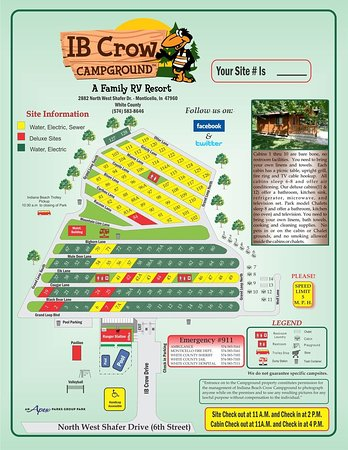 Monticello, IN: IB Crow Campground & RV Resort Map