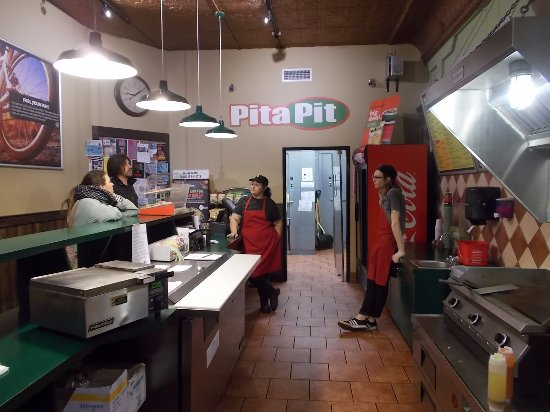 The Pita Pit, Flagstaff, AZ. The customer is selecting the meat.