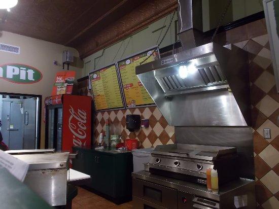 The Pita Pit, Flagstaff, AZ. The open kitchen / grill.