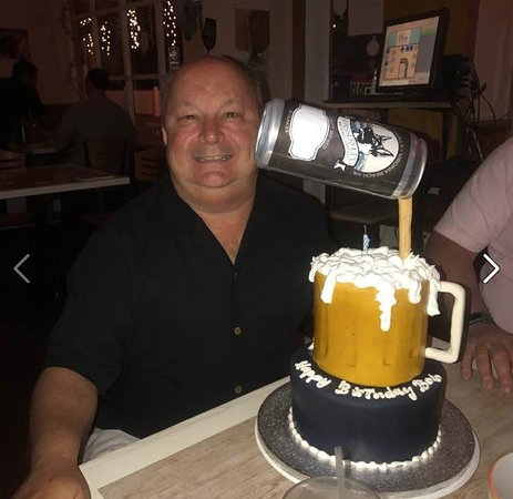 Peachy Birthday Cake Depicting A Beer Can Pouring Beer Into A Beer Mug Personalised Birthday Cards Veneteletsinfo