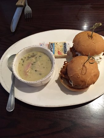Plymouth, MN: lunch special- cup of soup (wild rice) & sandwich (pork sliders)