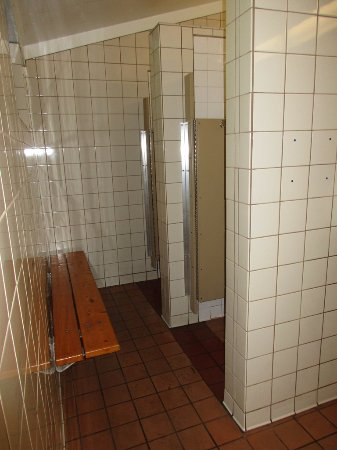 convenient bench outside of shower stalls - Picture of Mirror Lake ...
